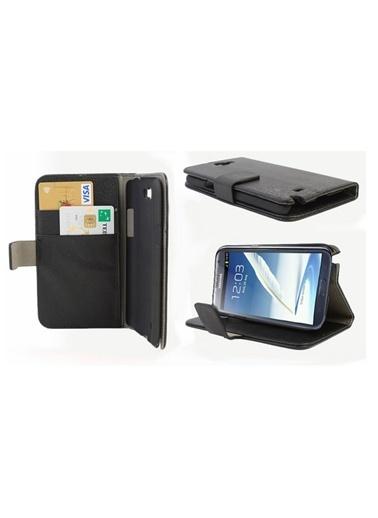 Microsonic Cüzdanlı Standlı Deri Kılıf - Galaxy Note2 N7100 Siyah Renkli